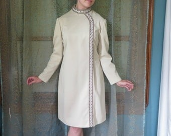 1960s Cream Asymmetrical Dress 60s Mod Dress Vintage Shift Dress L'Aiglon Dress Mad Men Taupe 60s Dress Mock Turtleneck Geometric Trim