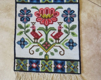 Beautiful Antique Swedish Needle Work Wool Wall Hanging