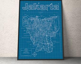 Jakarta Map / Original Artwork / Jakarta Blueprint / Wall Art / Anniversary Gift / Street Map / Indonesia Map / Birthday Gift