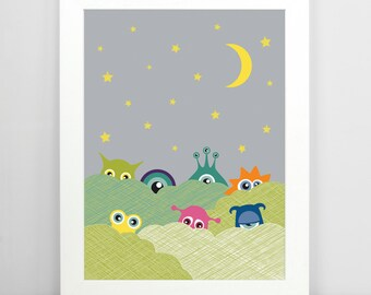 Hide & Seek Monsters - Nursery Art, Nursery Decor, Childrens Wall Art, Childrens Room Decor