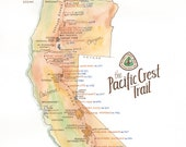 Pacific Crest Trail Map // ILLUSTRATION // 11x14