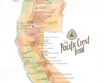 Pacific Crest Trail Map // ILLUSTRATION // 11x14