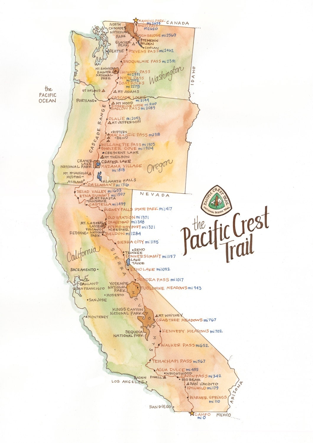 Pacific Crest Trail Map  ILLUSTRATION  11x14