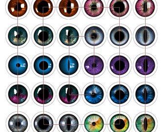 Unique Eyes Reflections,  Digital Collage Sheet, 42 1 inch round, 25mm, Glass Tiles, Resin, Bottlecap