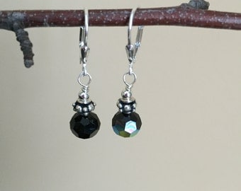 Sterling Silver Black Swarovski Crystal Leverback Earrings