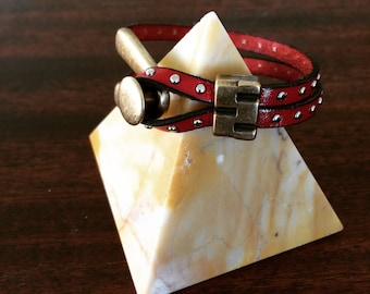 Handmade Studded Red Leather Cuff Bracelet With Brass Brick Slider RM203