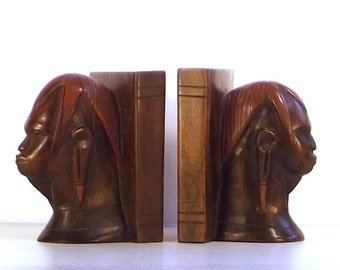 Bookends from Kenya, wood bookends, hand carved wood bookends, vintage bookends, bookends carved in Kenya Africa, library decor, bookends