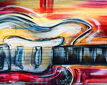 NEW! Funky red & yellow hand-painted Abstract Guitar Art by Sheila A. Smith