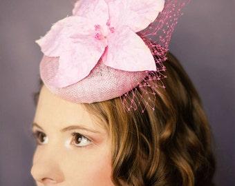 Wedding beret lily Veronica silk flower bridal hat mother of bride