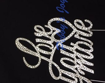 Love You More Crystal Rhinestone wedding Cake Topper Silver Anniversary Wedding Engagement Bling