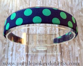 Navy Blue and Green Polka Dot Fabric Covered Headband