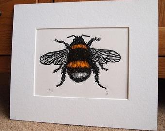 Bumble Bee ll Lino Print Lino Cut