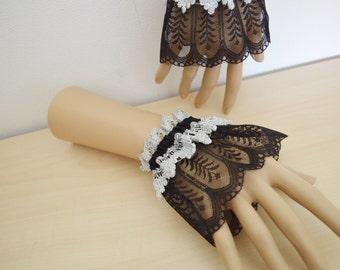 Wrist Cuffs Goth black silver lace wristcuffs