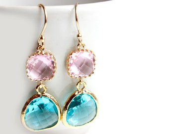 Pink and Blue Zircon Earrings Turquoise and Pink earrings Chalcedony earrings Pink and Teal earrings Colorblock earrings