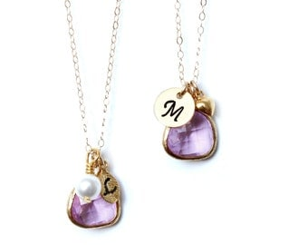 Lavender Necklace Initial bridesmaids necklace Customizable Necklace Stone necklace Radiant Orchid Necklace Lavender Bridesmaids Necklace