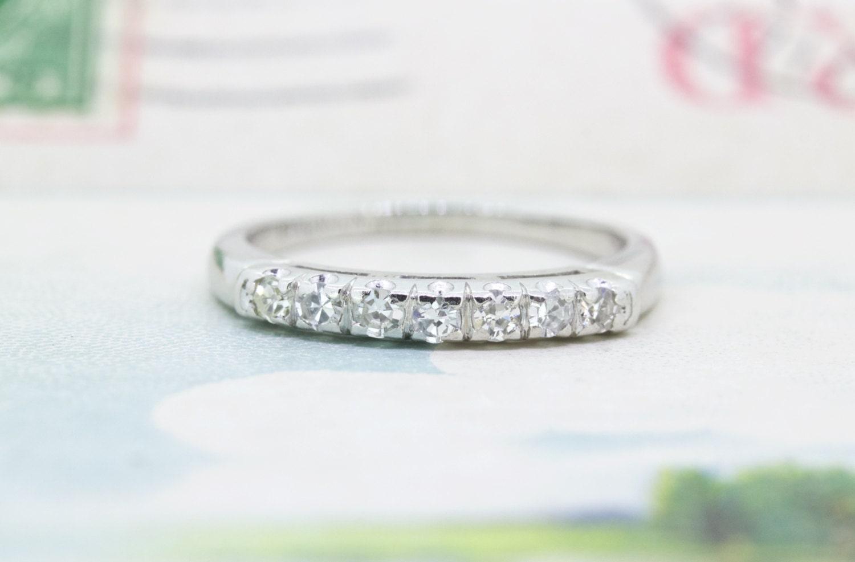 Antique Platinum Wedding Band Vintage Diamond Wedding Ring
