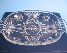 Divided Dish, Starburst pressed glass dish, relish, nut, candy, plate, tableware, serving dish