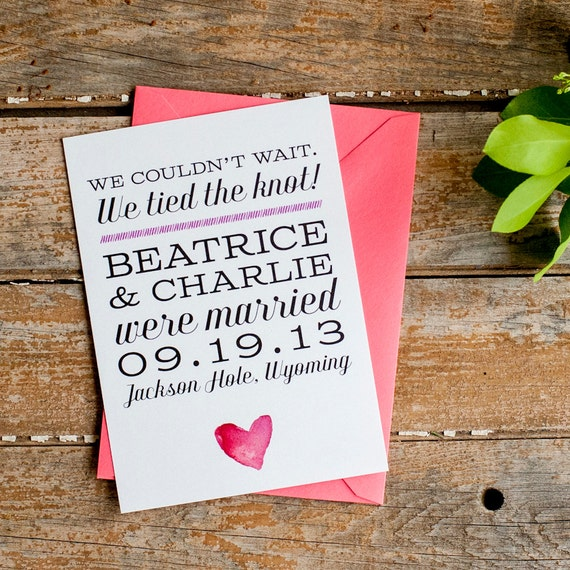 Watercolor Wedding Announcement, Elopement Announcement, Typography Wedding Announcement - The Beatrice - Eco, blush, pink, rustic, eloped