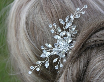 Bridal Crystal and Rhinestone Flower Hair Comb