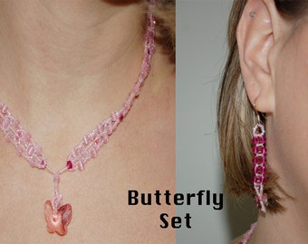 Pink Seed Bead, Cats Eye, and Swarovski Set with Swarovski Butterfly Pendant