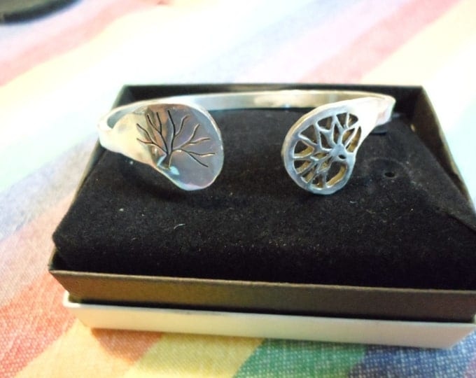 2 trees open reflection cuff bracelet