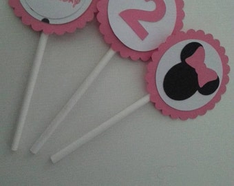 Cupcake Toppers Minnie Mouse 12 pieces