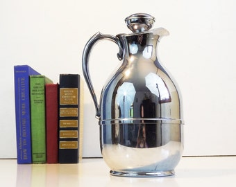 Vintage Thermos Pitcher / Jug - Replacement Filler No. 563F The American Thermos Bottle Co. Insulated Chrome Carafe with Stopper