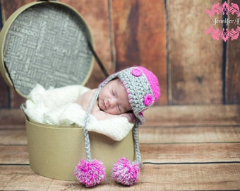 Aviator Baby Hat, Earflap Girl Aviator Hat, Pink Aviator Girl Hat, Aviator Baby Hat  Newborn Photo Prop, Baby Girl