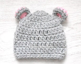 Teddy Bear Baby Hat, Newborn Bear Hat, Gray Crochet  Bear Hat, Baby Bear Hat, Photo Prop, Newborn Gifts, Baby Hat With Ears, Animal Boy Hat