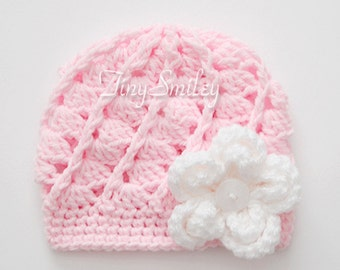 Crochet Baby Hat, Light Pink Baby Girl Hat, Pink Baby Girl Hat, Baby Girl, Girls Hats, Newborn, Hospital Baby Hats