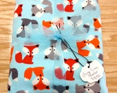 Large Receiving Blanket of Bright Foxes on Blue Flannel