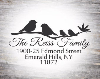 Family Return Address Rubber Stamp, Birds, LoveBirds, Cute Couples Stamp, Self Inking Birds on a Branch, Choose your birds, Family Stamp