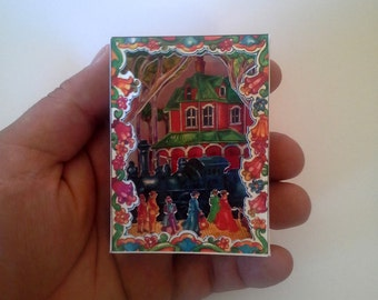 Pop up Mini and Large Blue Train Card