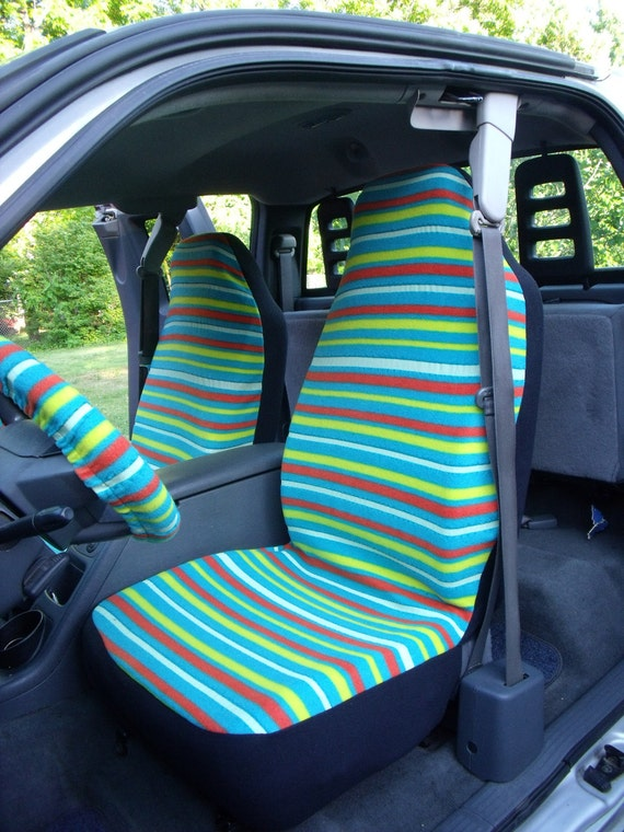 1 Set of Glow in the Dark Uneven Strip Print and Steering Wheel Cover Custom Made.