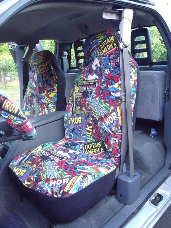 1 Set Of Marvel Comic Fury Print Car Seat Covers And Steeling
