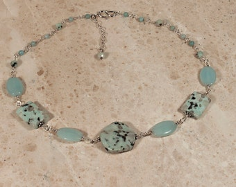 Kiwi Jasper, Amazonite Silver Necklace; Sesame Jasper Necklace