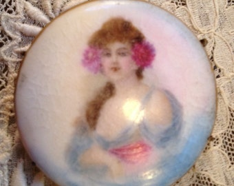 Antique Brooch Hand Painted