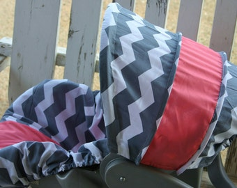 gray and white chevron with coral cotton infant car seat cover and hood cover