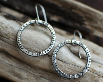 Silver Earring solid, creole, minimalist, graphic, ring, silver engraved, timeless