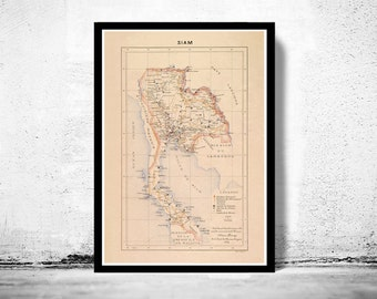 Old Map of Thailand, Old Siam 1889