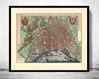 Old Map of Amsterdam, Netherlands engraving 1649