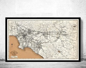 Vintage Old Map of Los Angeles 1926 United States