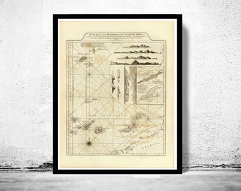 Old Map Canary Islands Madeira Islands 1787