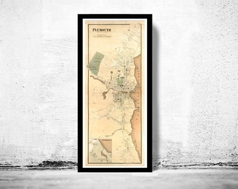 Old Map Plymouth Massachusetts 1897