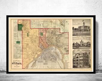 Old map of Saint Paul Minnesota 1874