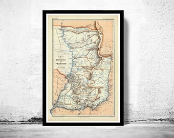 Old Map Paraguay South America Antique map 1888