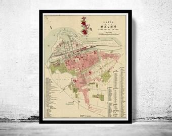 Old Map of Malmo, Sweden 1881 Antique Vintage