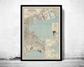 Old Map of Yokohama Japan