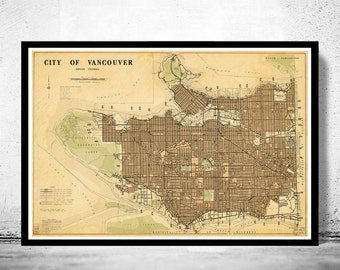 Old Map of Vancouver, British Columbia Canada