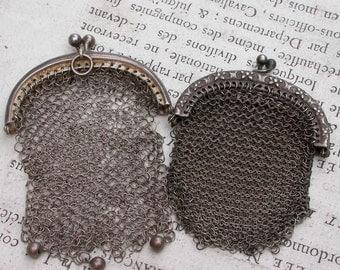 2pcs French antique Art Nouveau stamped sterling Silver Mesh Mistletoe Purse jewelry bag coin bag flower ornate silver bag pendant charm